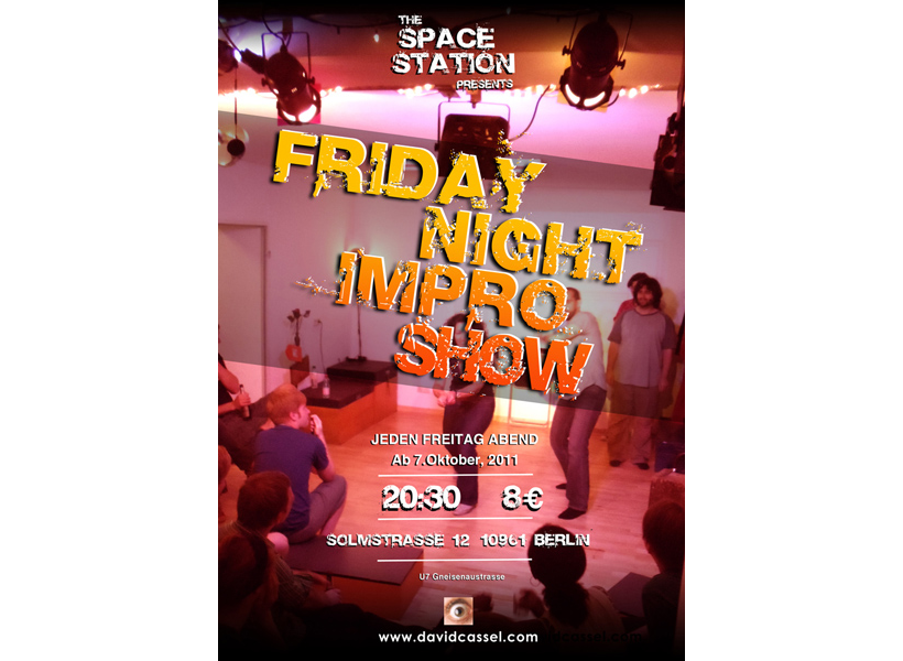 Poster for Friday Night Impro classes at The Space Station Gallery Berlin