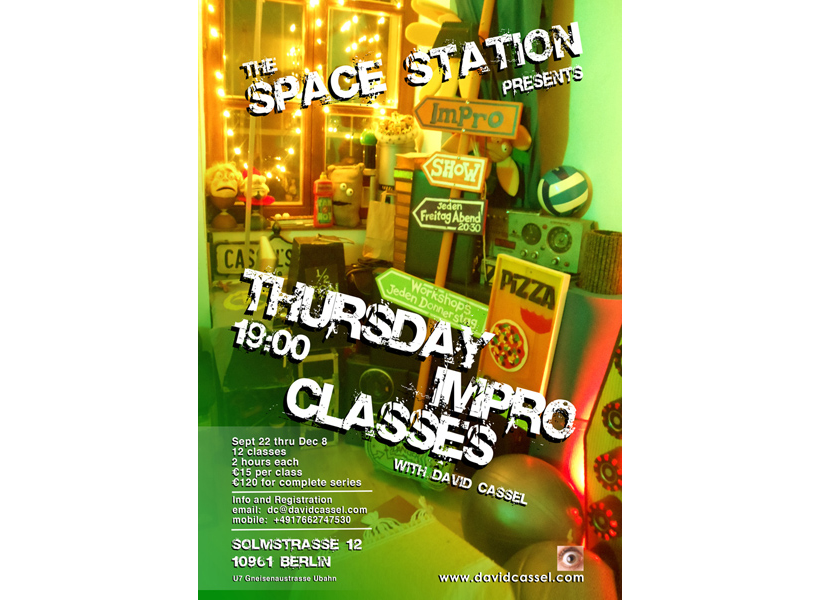 Poster for Thursday Night Impro classes at The Space Station Gallery Berlin