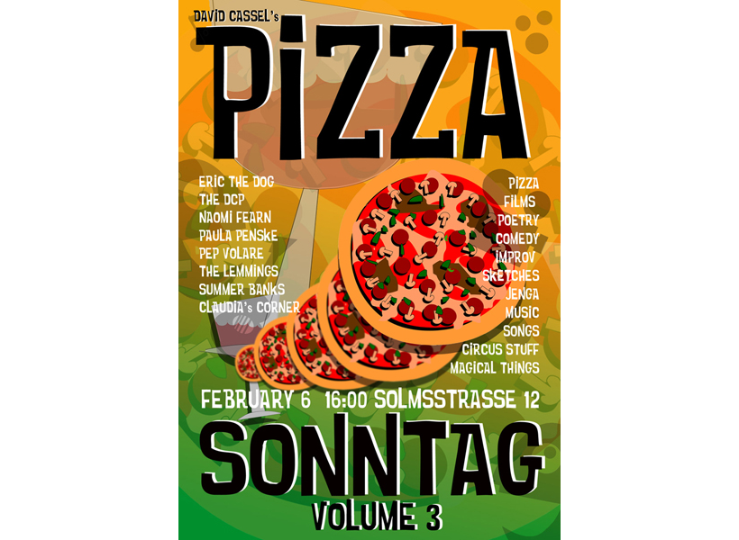 Pizza Sonntag Poster for The Space Station in Berlin.