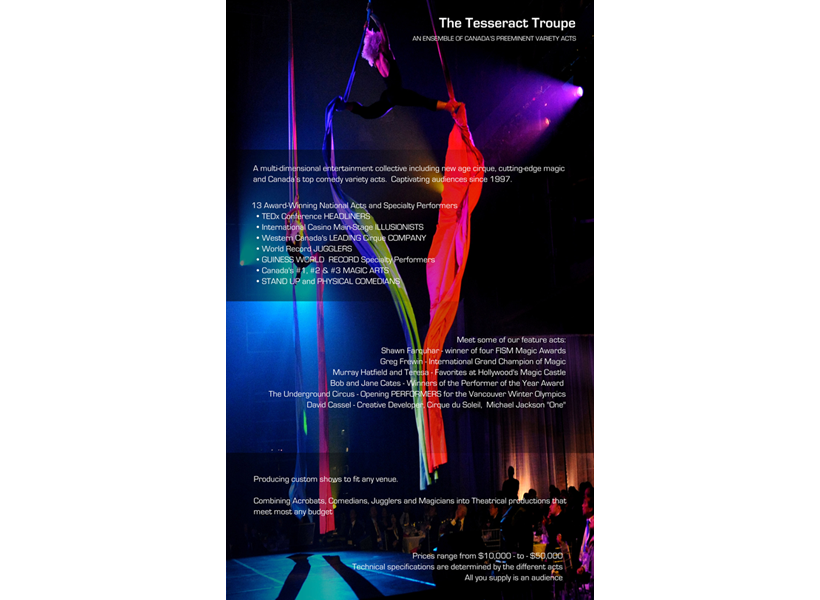 Promotional Brochure Front Side for Tesseract Performance Troupe, USA